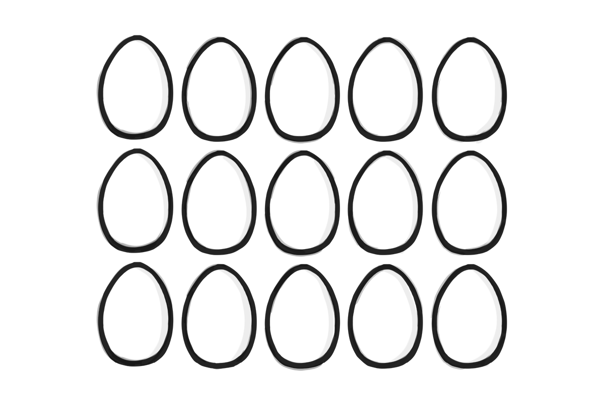 Lots and lots of eggs in a grid