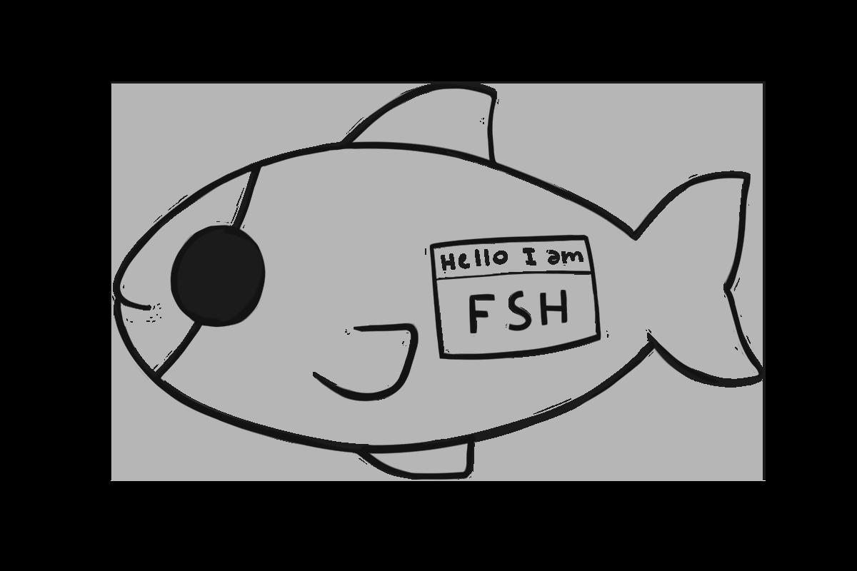 """Eyeless fish: """"FSH"""""""