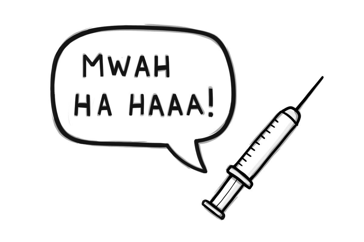"""IVF injection and speech bubble that says """"Mwah ha haaa!"""""""