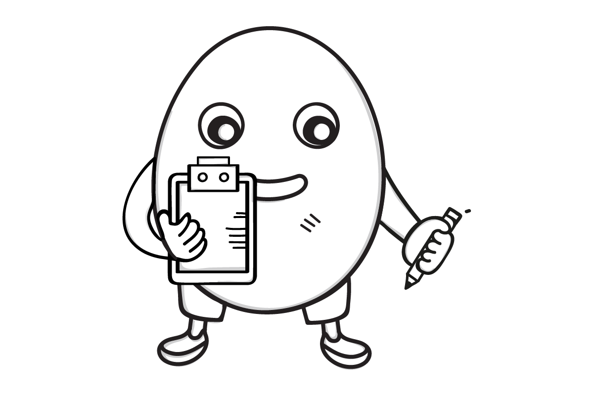 Egg cartoon with a clipboard and pencil