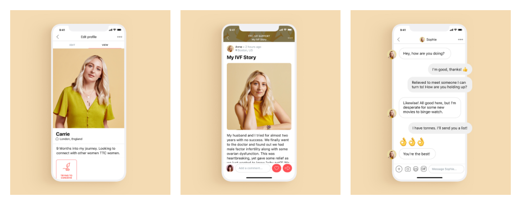Profiles and chat on the Peanut app