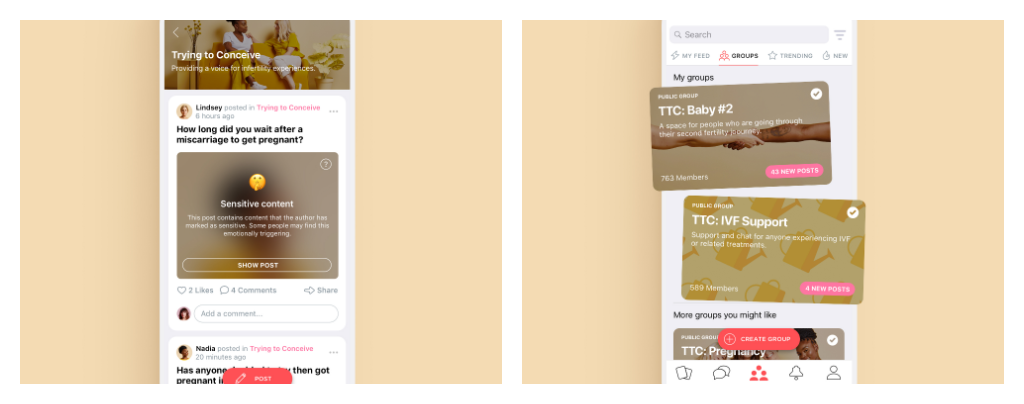Message boards and chat on the Peanut app